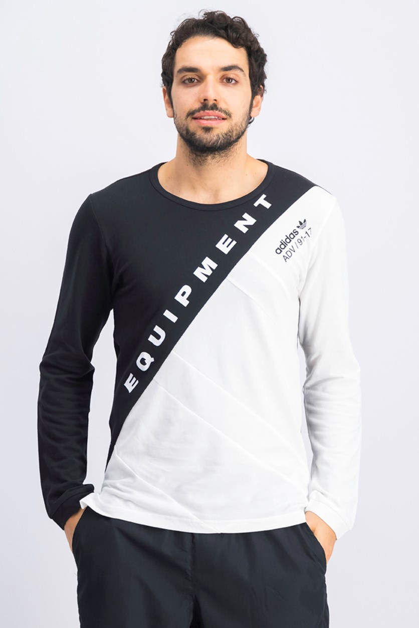 Men's Burnside Long Sleeve Tee, Black/White