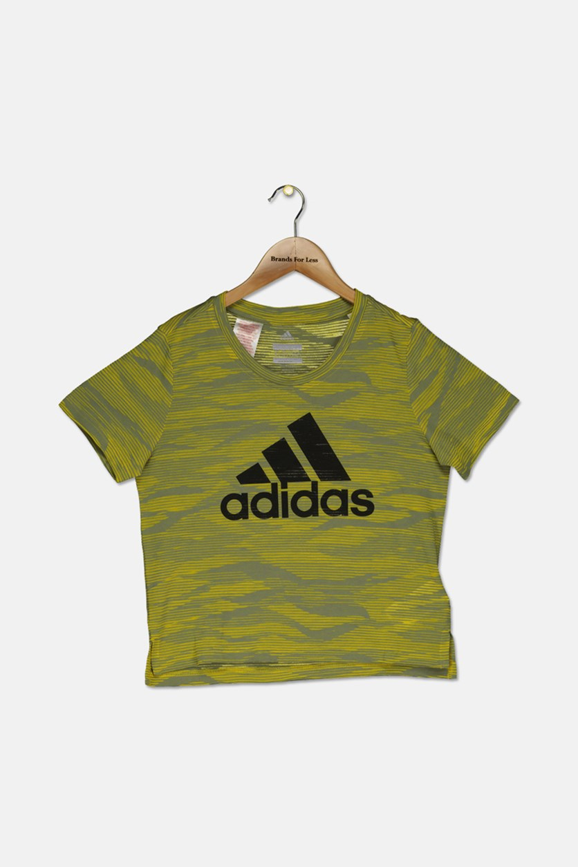 Adidas Kids Girls YG Aero Tee, Yellow Combo