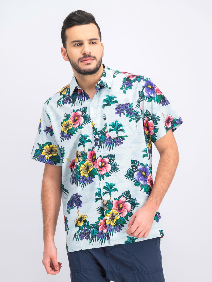 Men's Floral Casual Shirt, Blue Combo