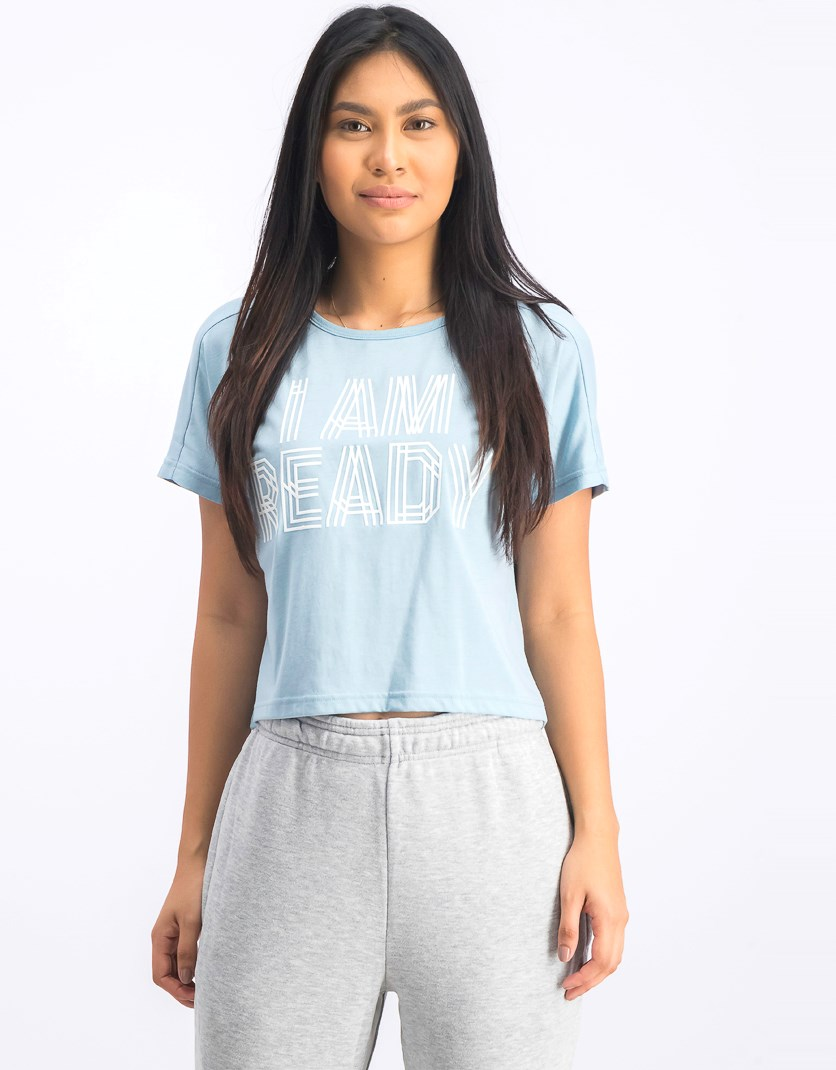 Women's Cropped Printed  Top, Ash Grey