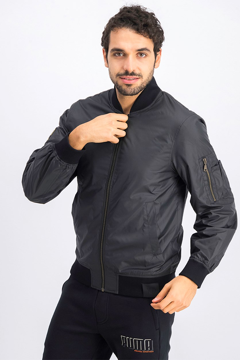 Men's XO Nylon Bomber Jacket, Black