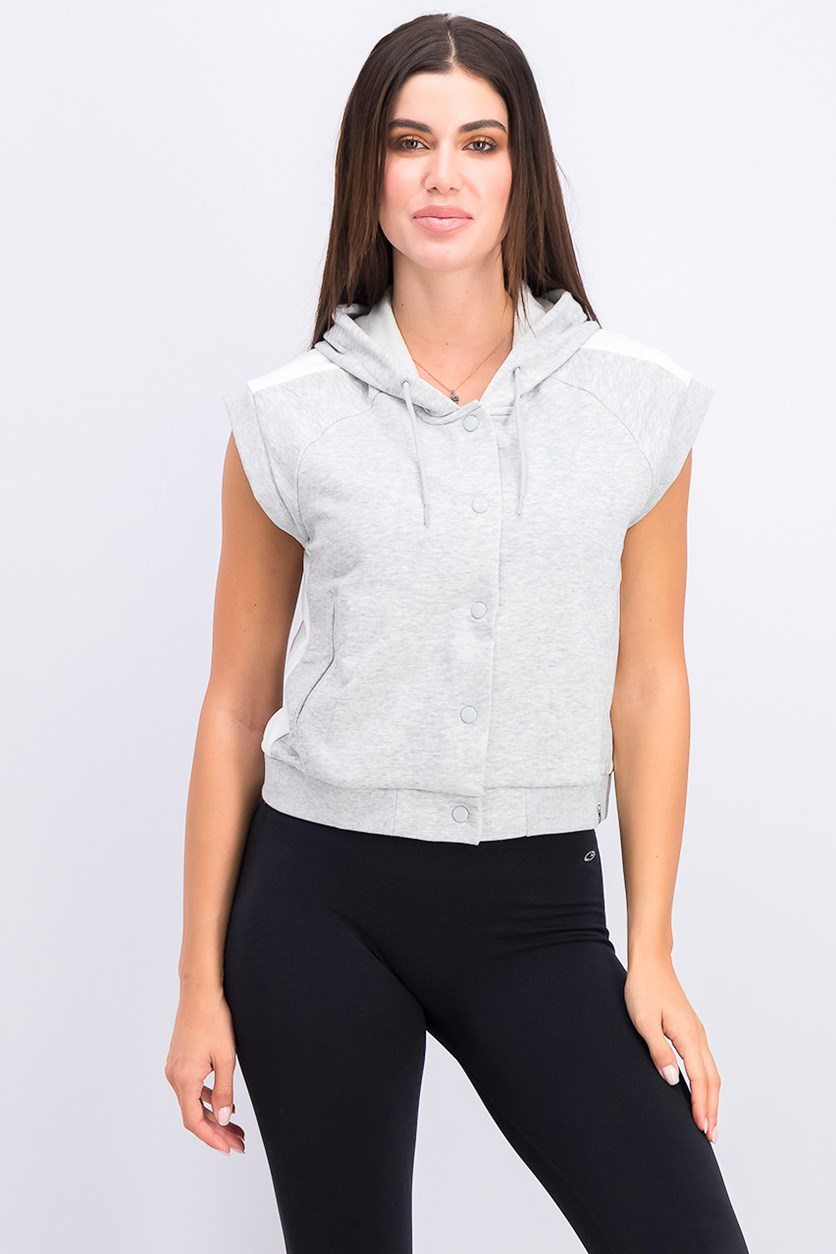 Women's Classics Sleeveless Button Down Hoodie, Grey Heather