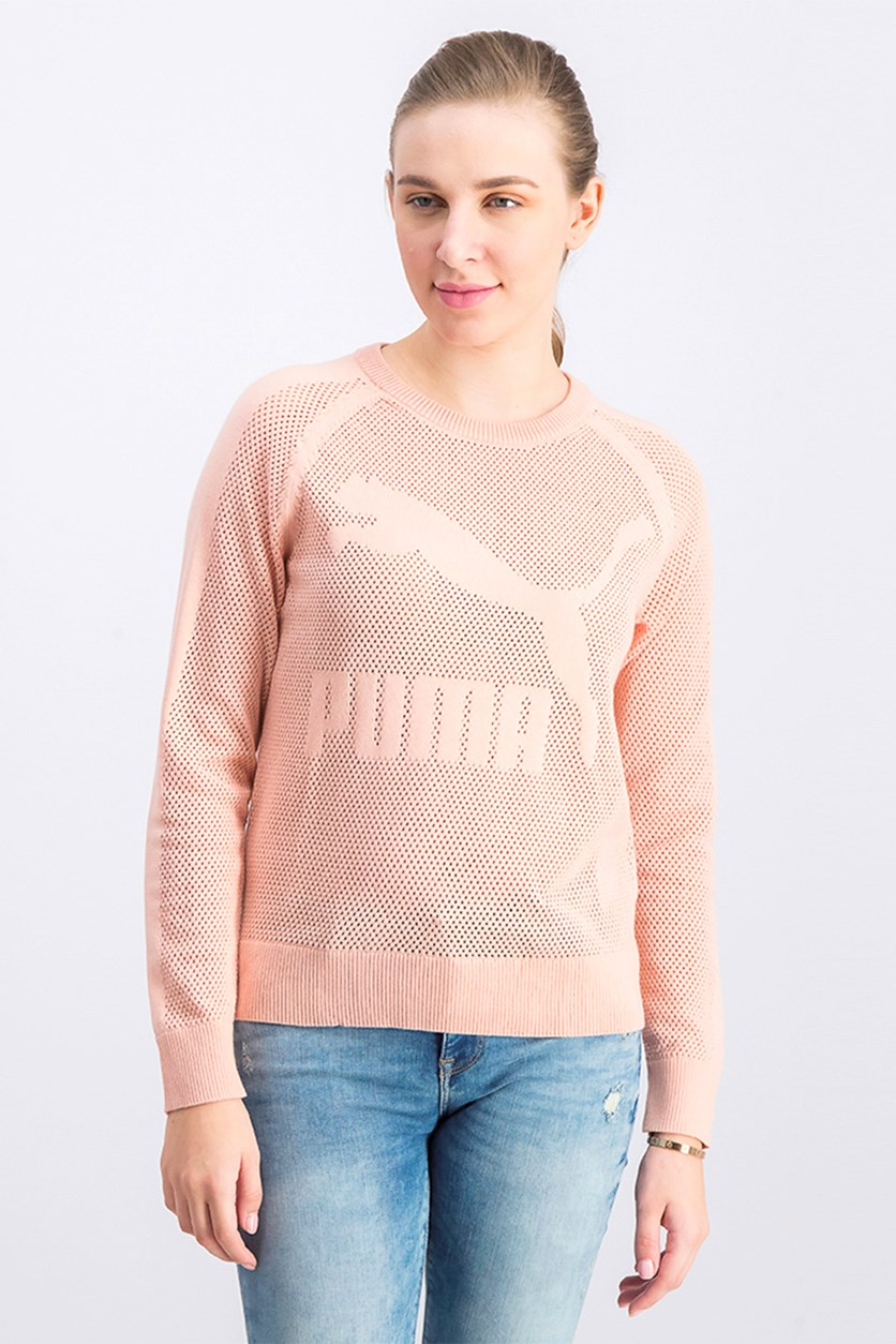 Women's Evo Knit Crew Sweater, Peach Beige
