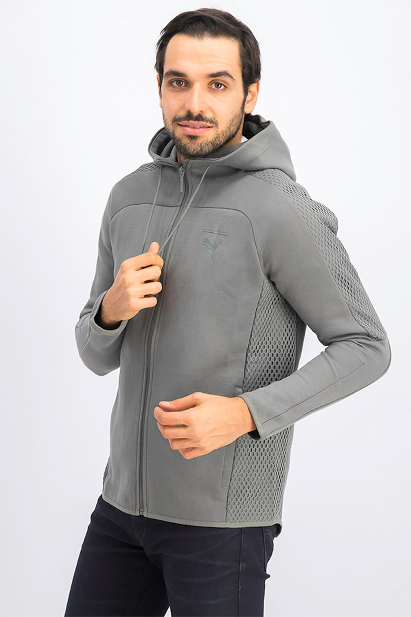 Men's Pace Net Full Zip Hoodie, Castor Grey