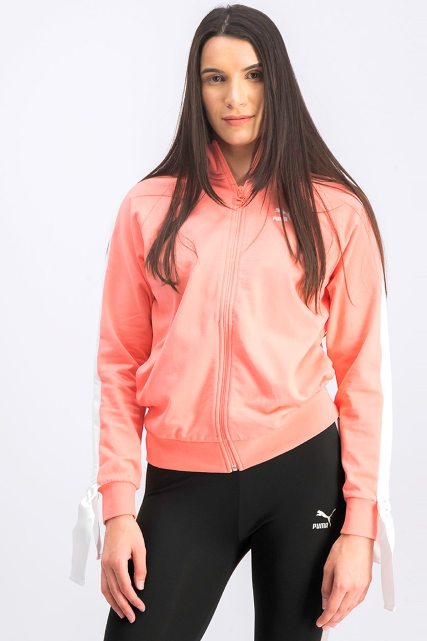 Women's Two Pockets Bow Track Jacket, Shell Pink