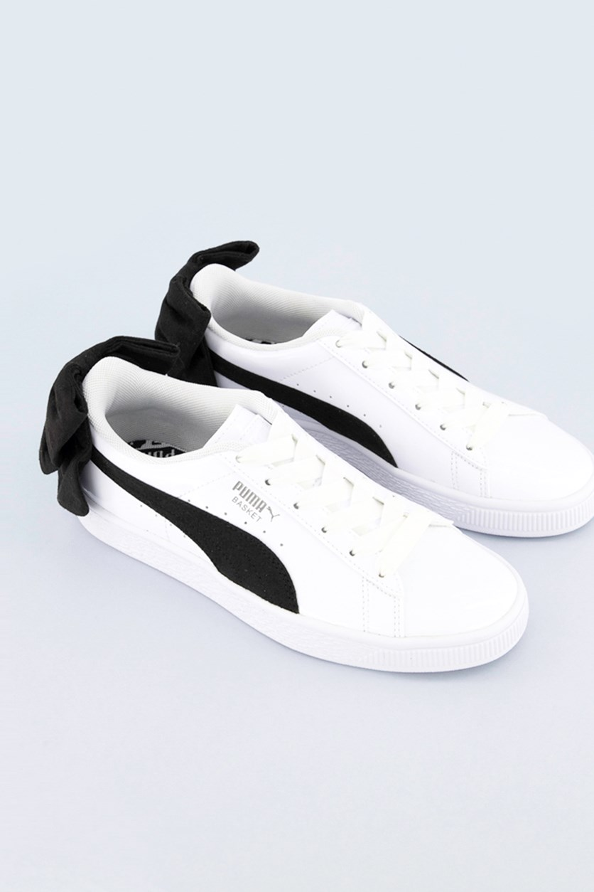 Women's Basket Bow Sneakers, White/Black
