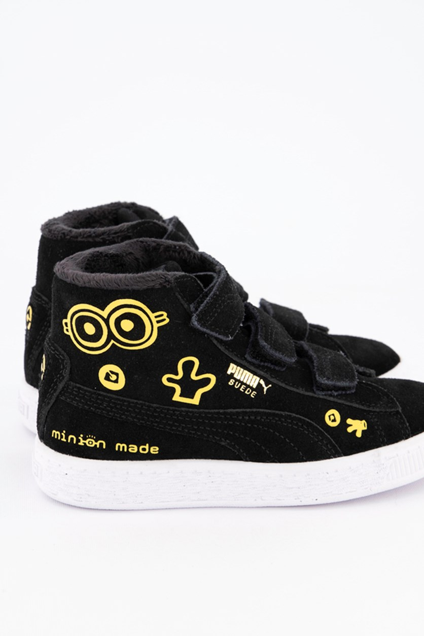 Kids Girls Minions Suede Shoes, Black