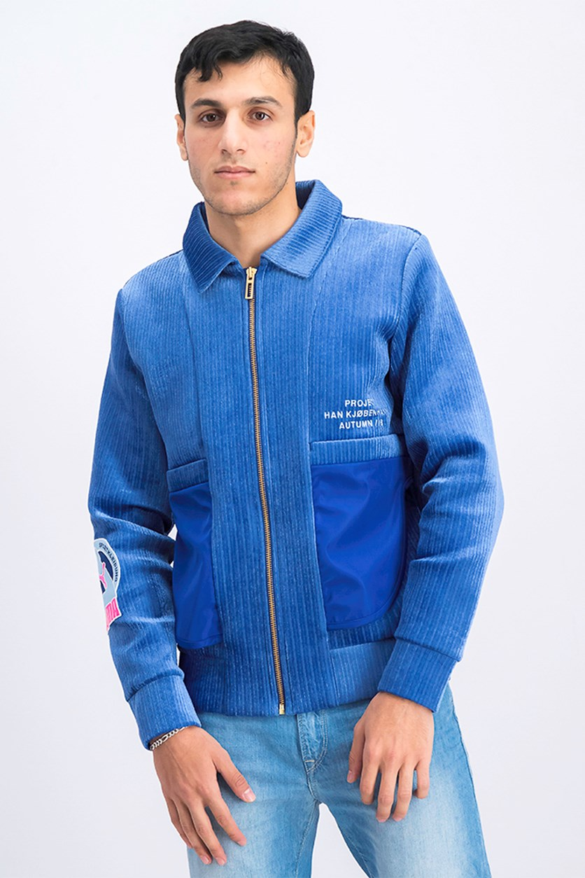Men's Long Sleeve Bomper Jacket, Blue
