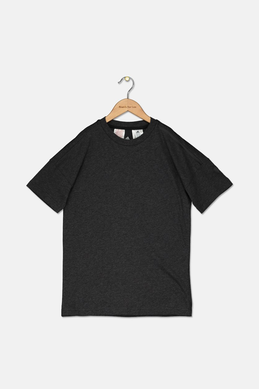 Kids Boy's Plain T-Shirt, Charcoal