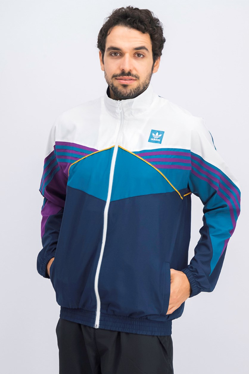 Men's Track Jacket, White/Navy/Green