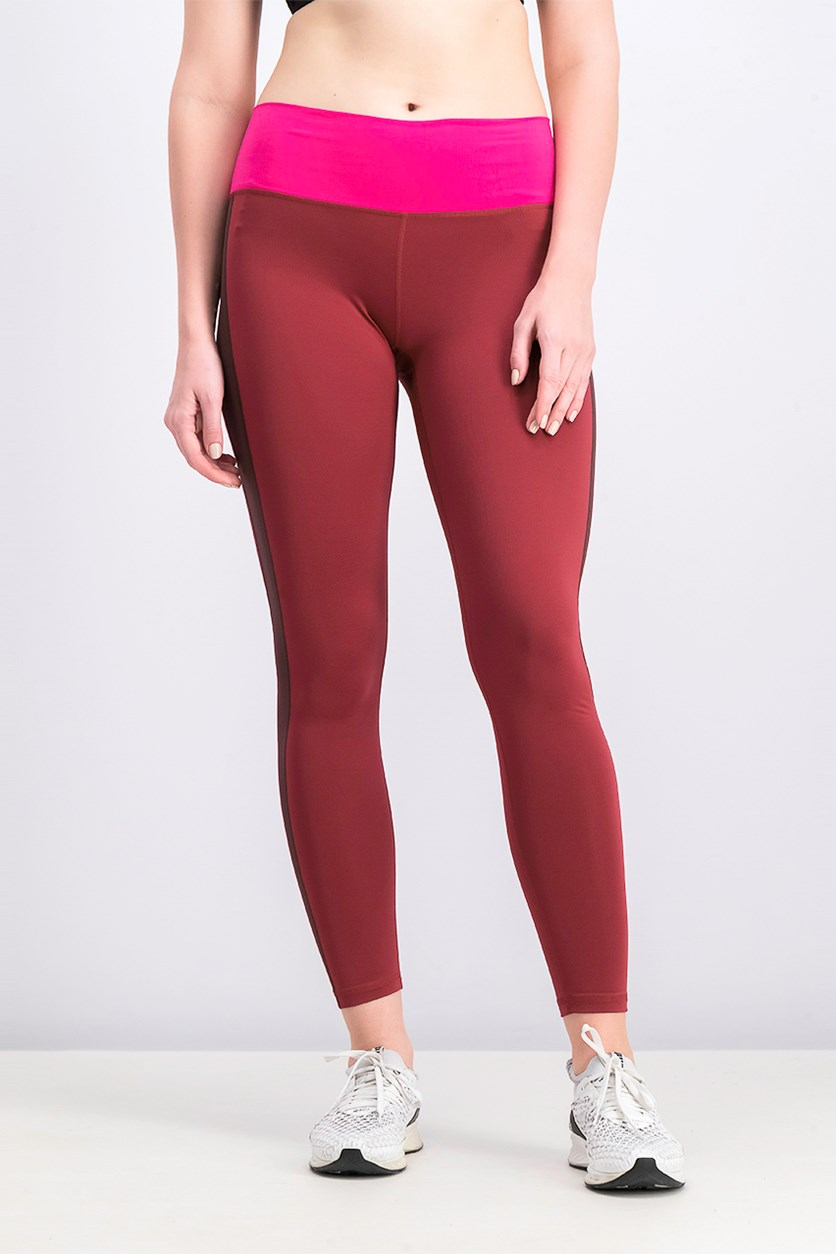 Women's Soft Leggings, Maroon/Pink