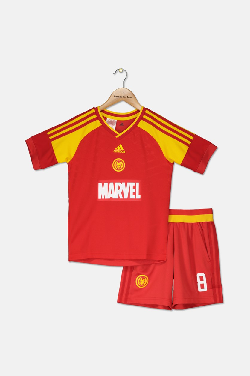Kids Boys Marvel Iron Man Football T-Shirt & Shorts Set, Red/Yellow
