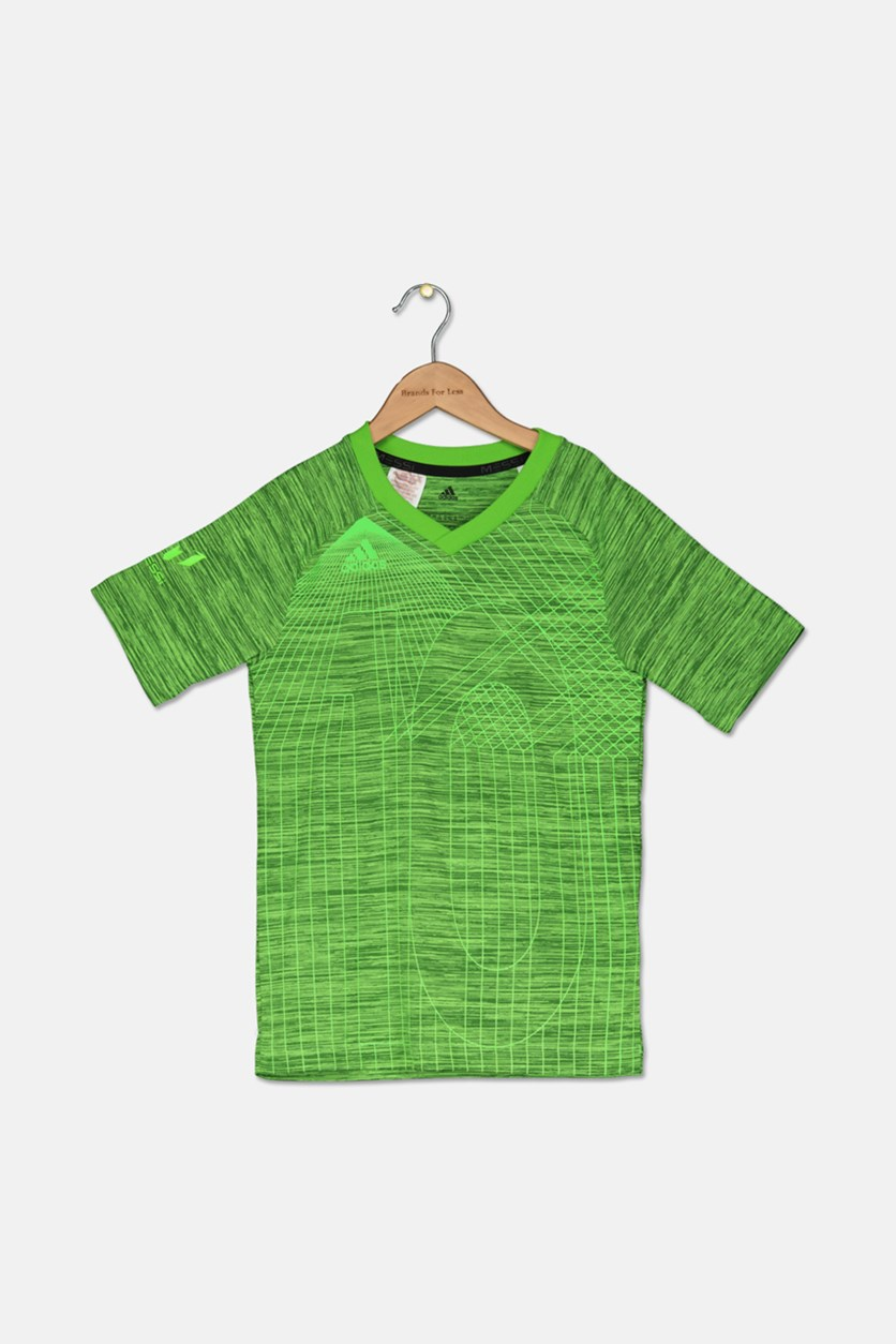 Kids Boys Messi T-shirt, Heather Green Combo
