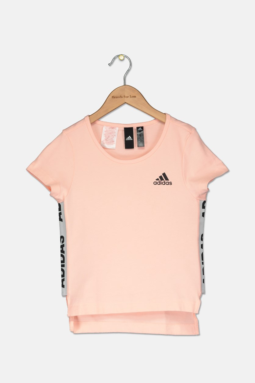 Girls Brand Logo Tee, Peach