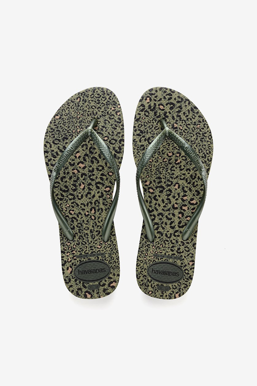 Girl's Slim Animal Flip Flops, Green Olive Metallic