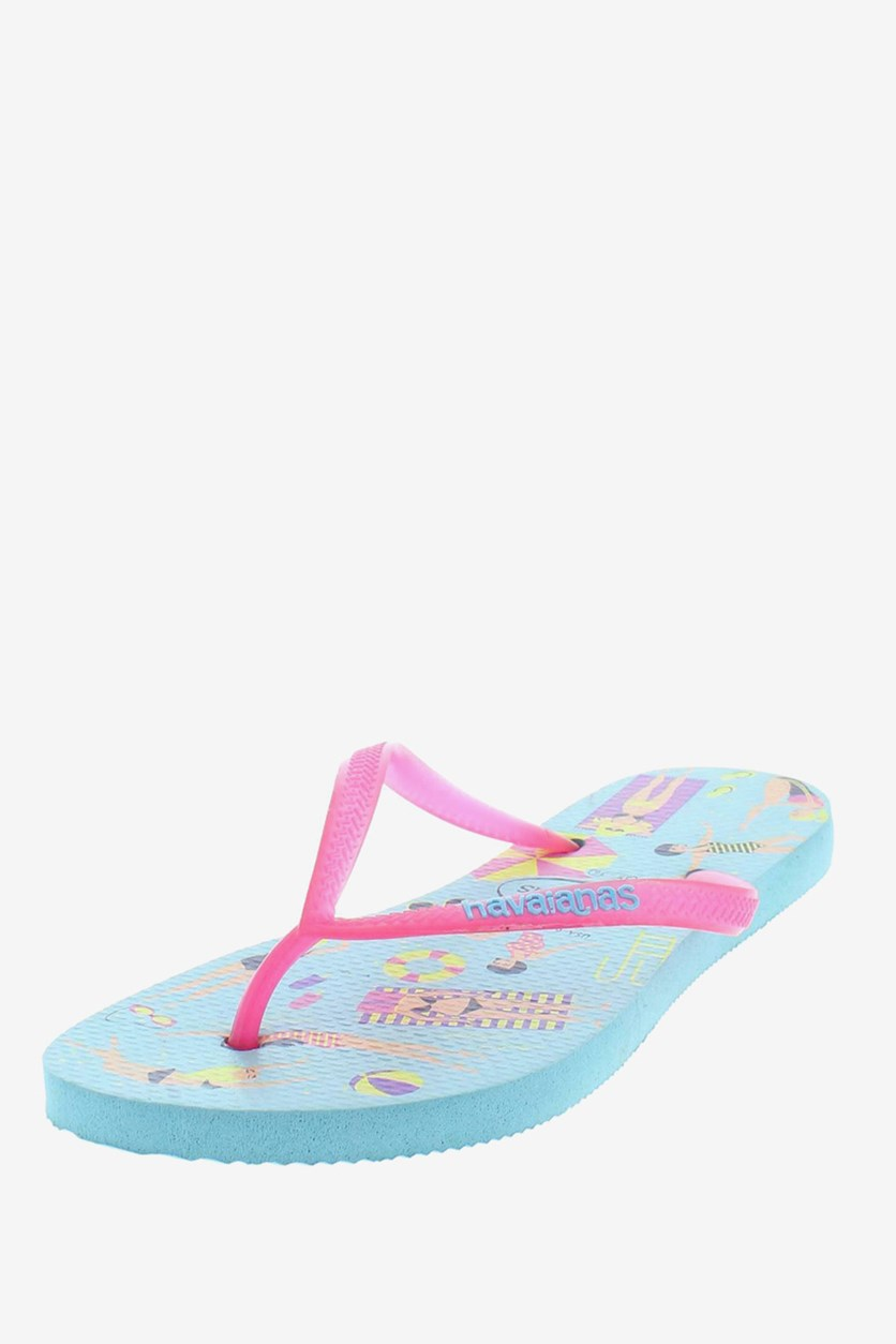 Women Fantasy Slippers, Ice Blue/Shockin
