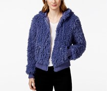 Say What? Juniors' Faux-Fur Zipper-Front Hoodie, Velvet Morning