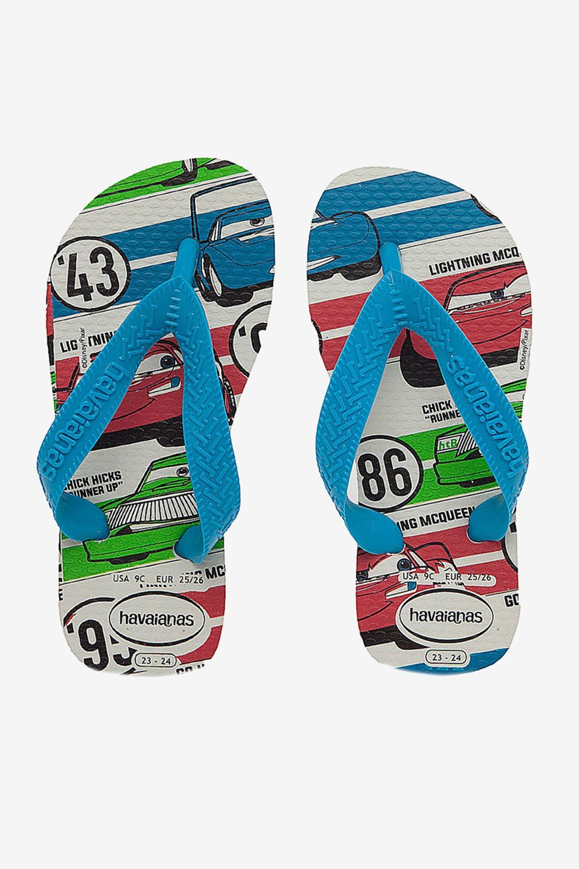 Boy's Cars Printed Slippers, White/Blue