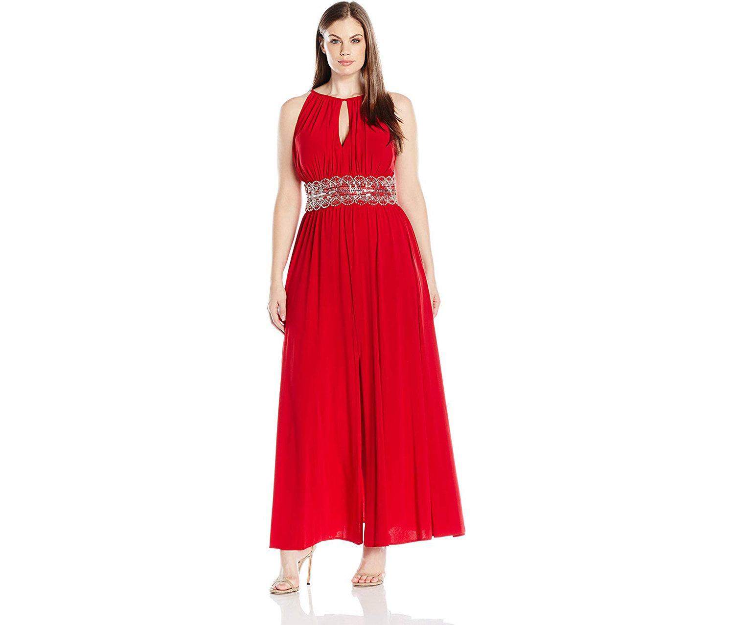R & M Richards Sleeveless Beaded Evening Gown, Red