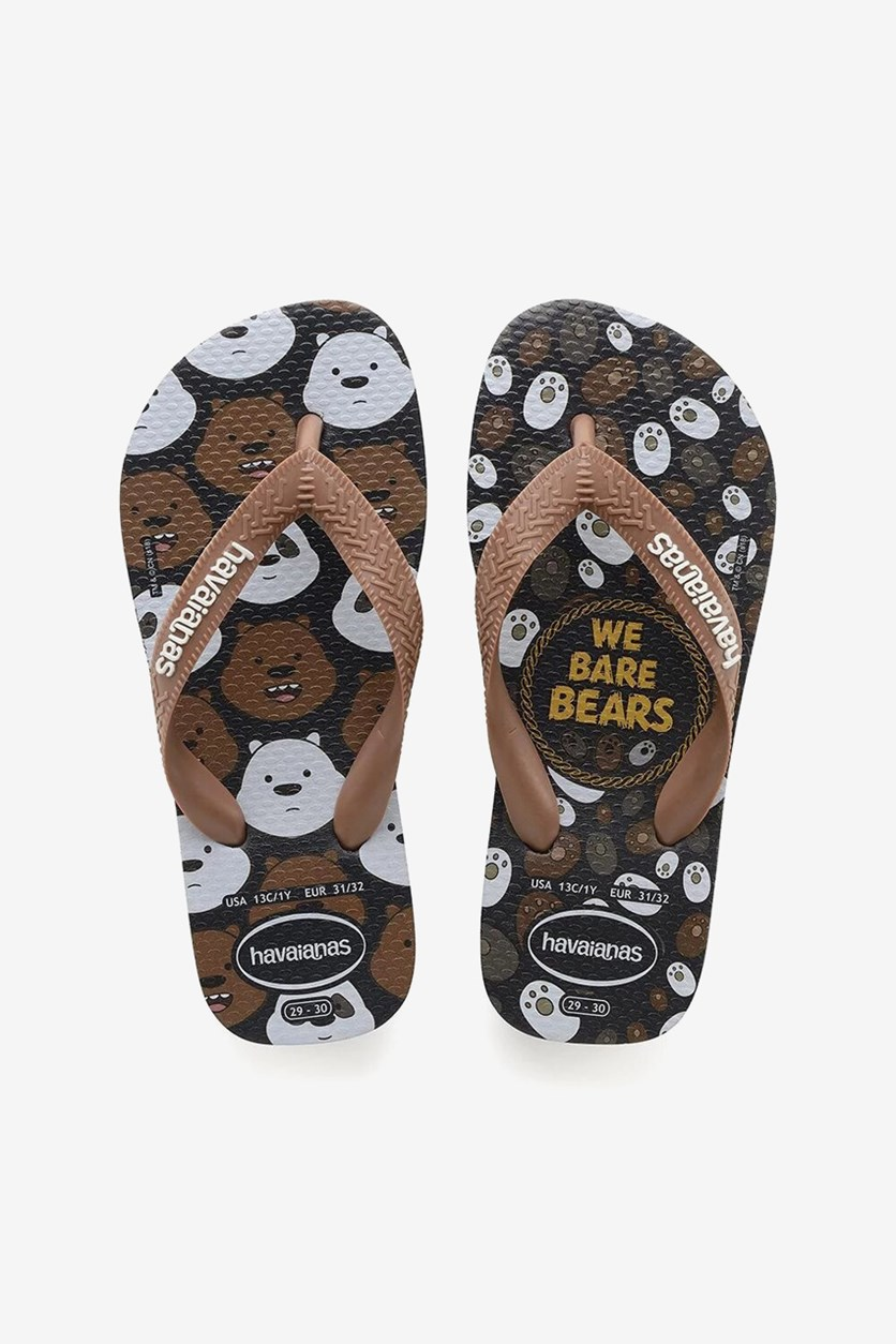 Toddler Boy's Cartoon Flip Flops, Black/Brown