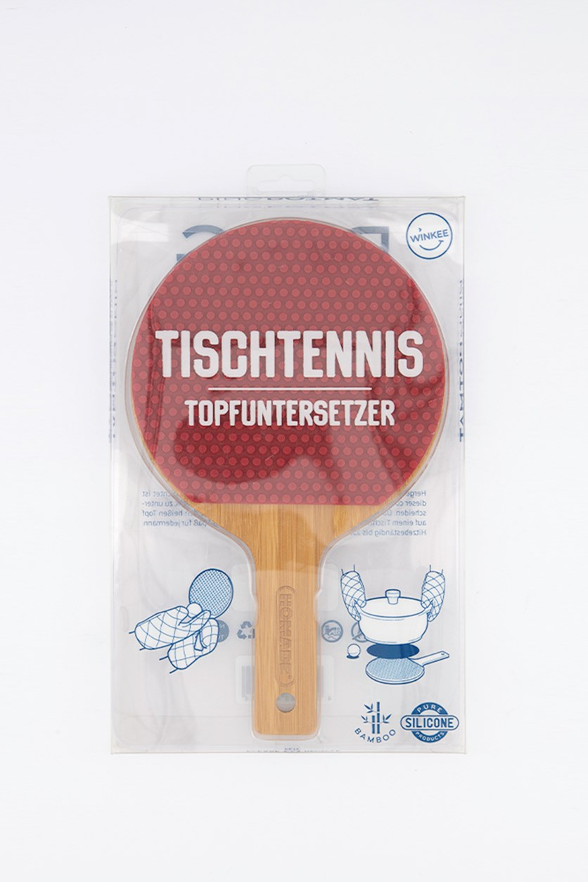 Table Tennis Pot Coaster, Brown/Red