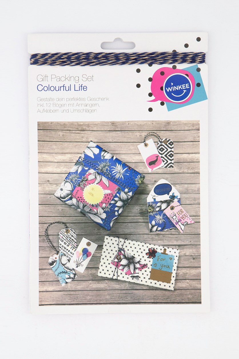 Gift Packing Set, Blue/White