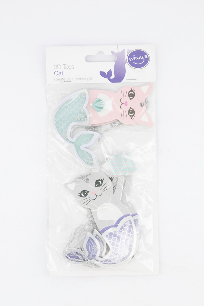 3D Tags Mermaid Cat, Pink/Grey
