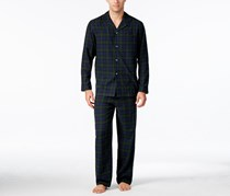 Club Room Men's Big & Tall Plaid Flannel Pajama Set, Navy/Green