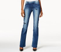Calvin Klein Women's Flare-Leg Ripped Dirty Indigo Jeans, Blue