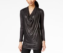 Calvin Klein Jeans Cowl-Neck Metallic Top, Black