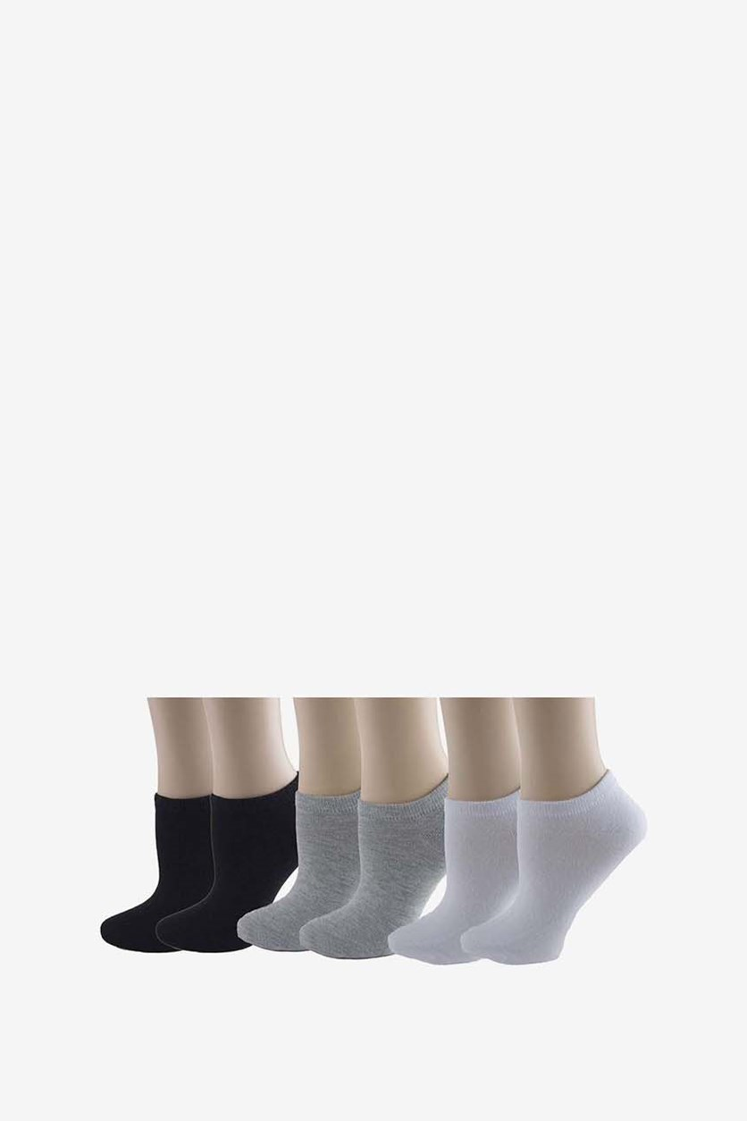 Women's 6 Pairs Of Socks, Black/White/Grey