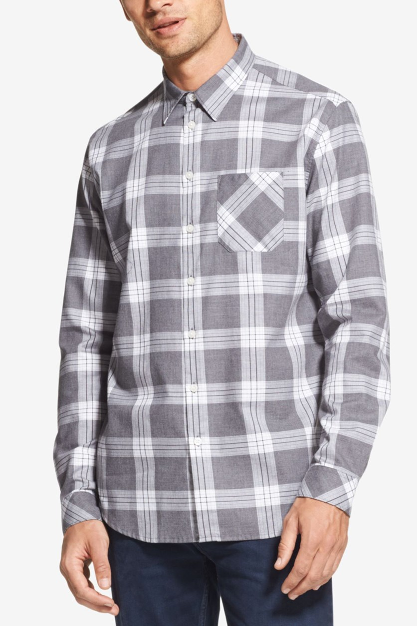 Mens Plaid Point Collar Button-Down Shirt, Grey