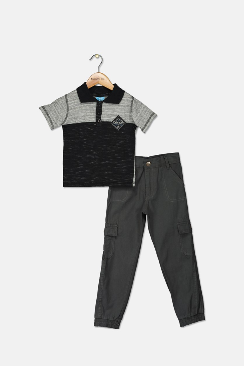 Little Boy's Polo Shirt And Twill Pant Set, Heather Black/Gray
