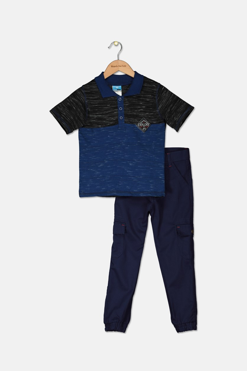 Little Boy's Polo Shirt And Twill Pant Set, Navy/Black