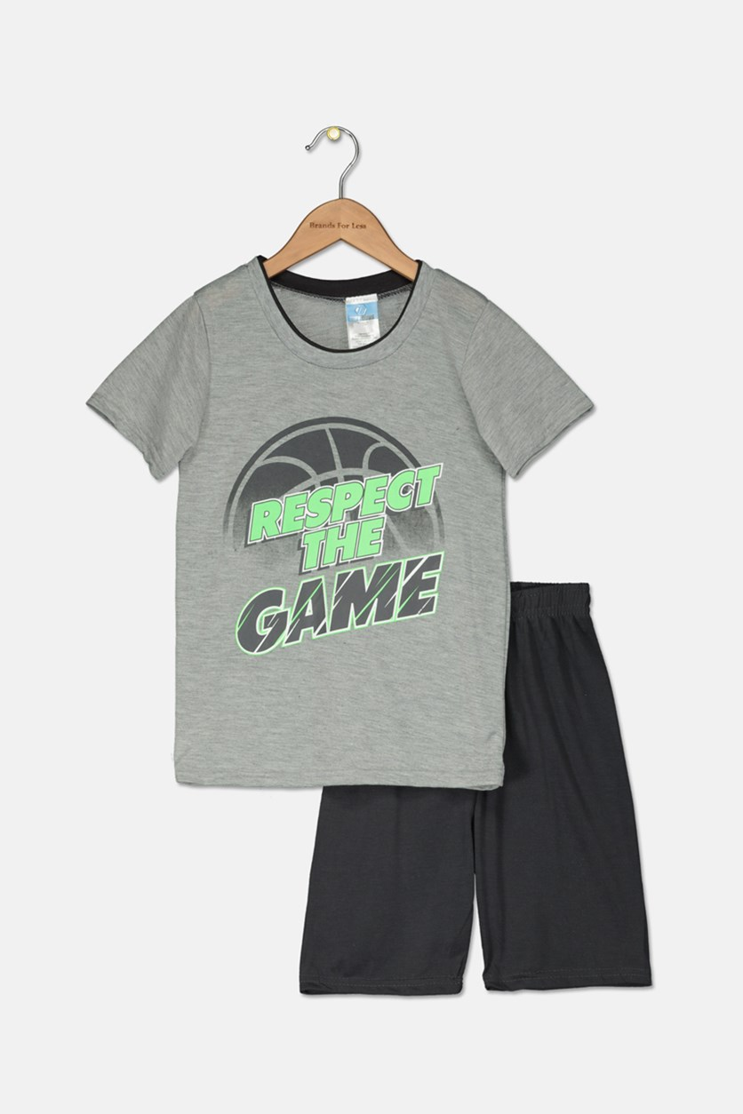 Toddler Boys 2 Piece Graphic T-Shirt & Short Set, Charcoal/Grey Combo