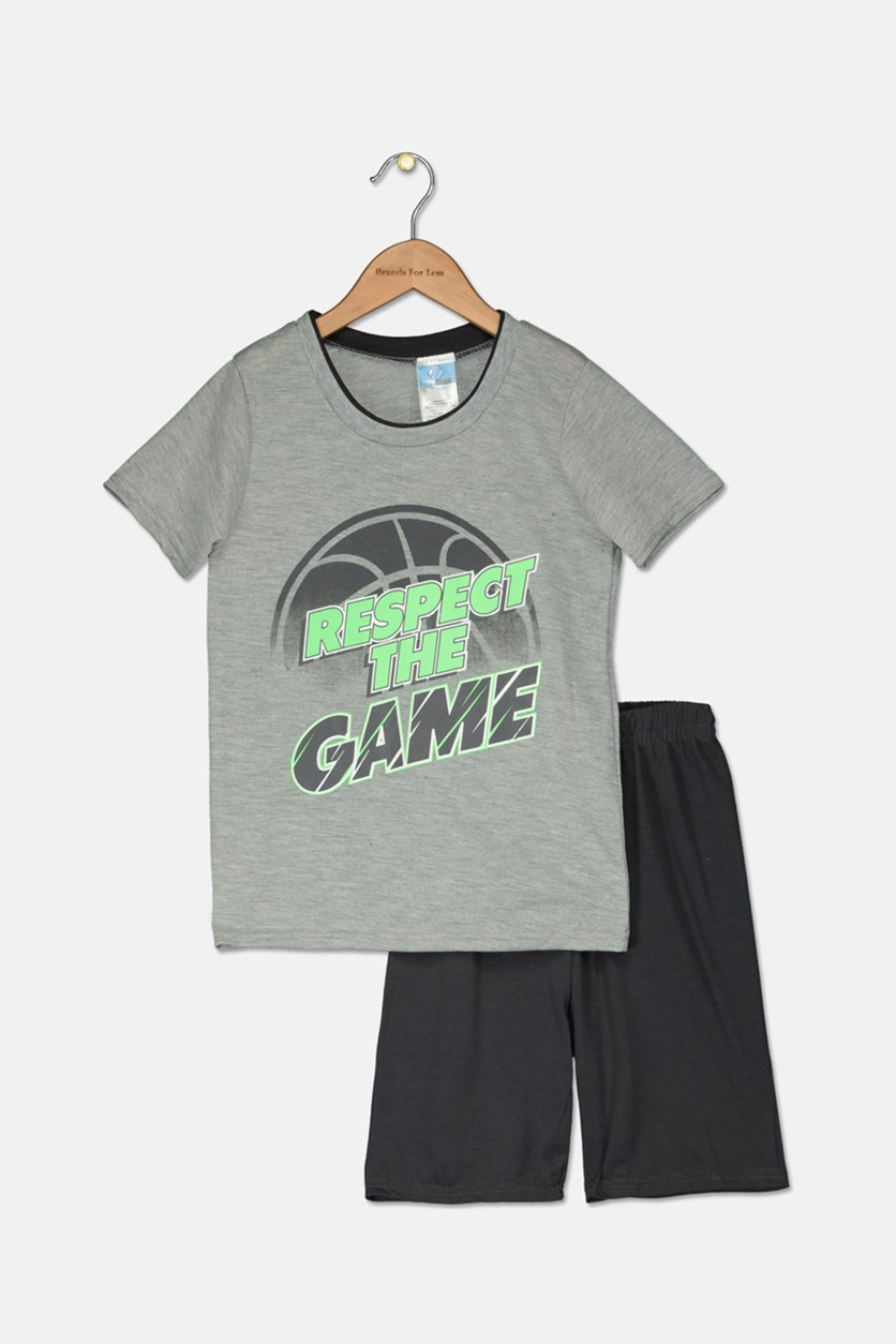Kids Boys 2 Piece Graphic T-Shirt & Short Set, Charcoal/Grey Combo