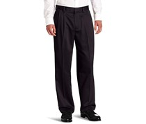 Dockers Men's Never-Iron Essential Khaki D4 Relaxed-Fit Pleated-Cuffed Pant, Black