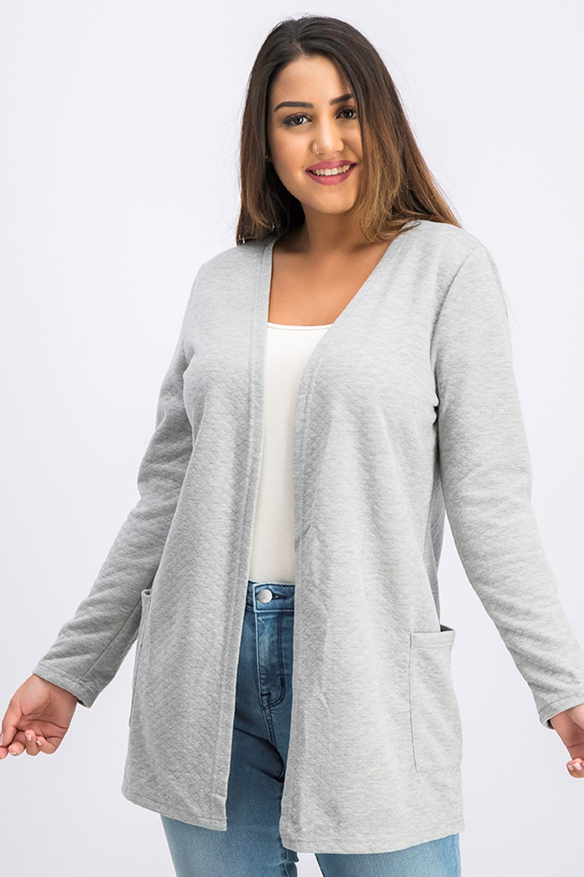 Women's Long Sleeves Two Pocket Cardigan, Grey