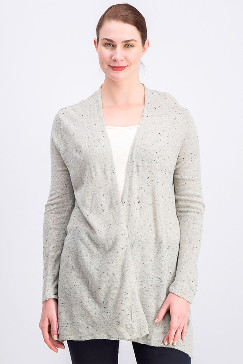 Women's Open Front Cardigan, Grey/Black