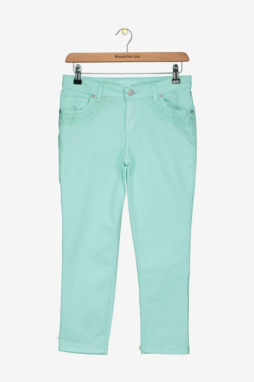 Big Girls Super Skinny Pants, Aqua Float
