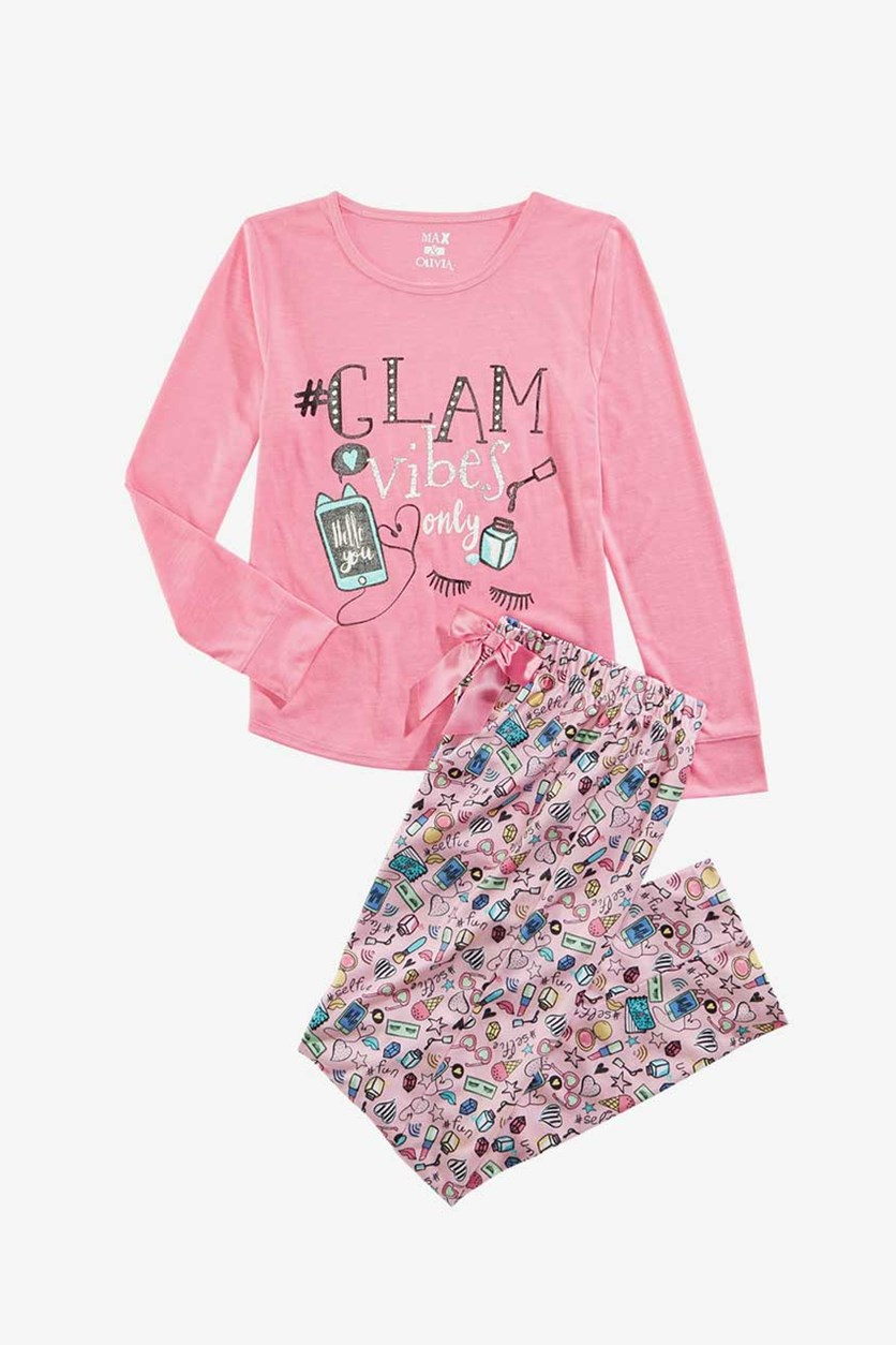 Kids Girls Graphic Print Top & Pajama 2 Pc Set, Pink