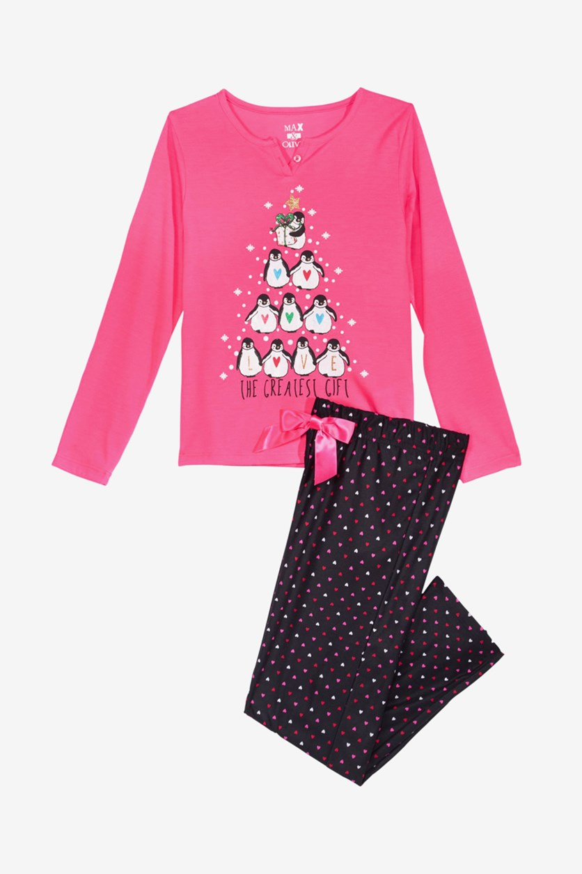Big Girls 2-Pc. Greatest Gift Pajama Set, Pink/Black
