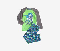 Little Boys 2-Pc. Sup Dinosaur Pajama Set, Green/Gray