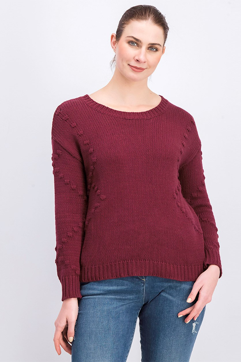 Women's Knit Pullover Sweater, Maroon