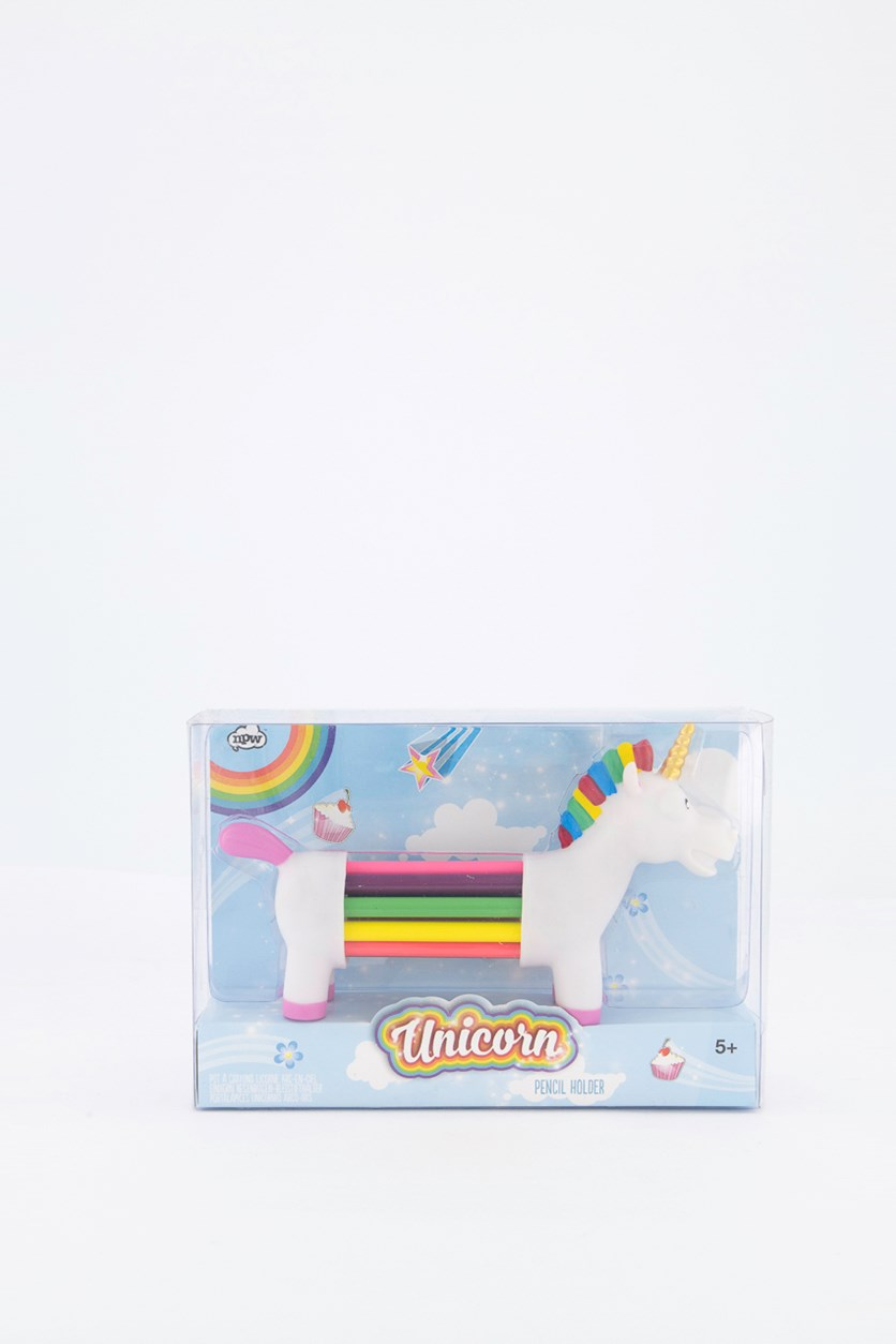Unicorn Pencil Holder, White Combo