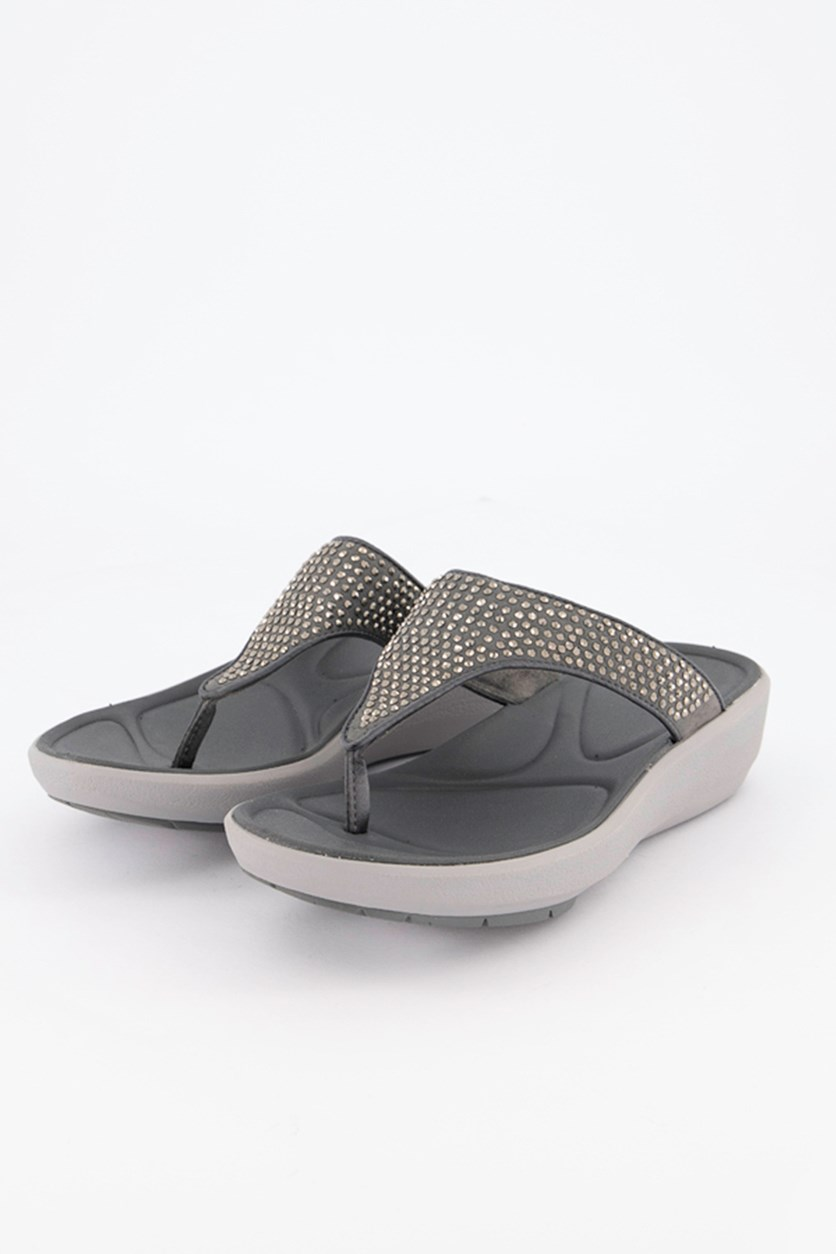 Women's Wave Dazzle Slippers, Silver Synthetic