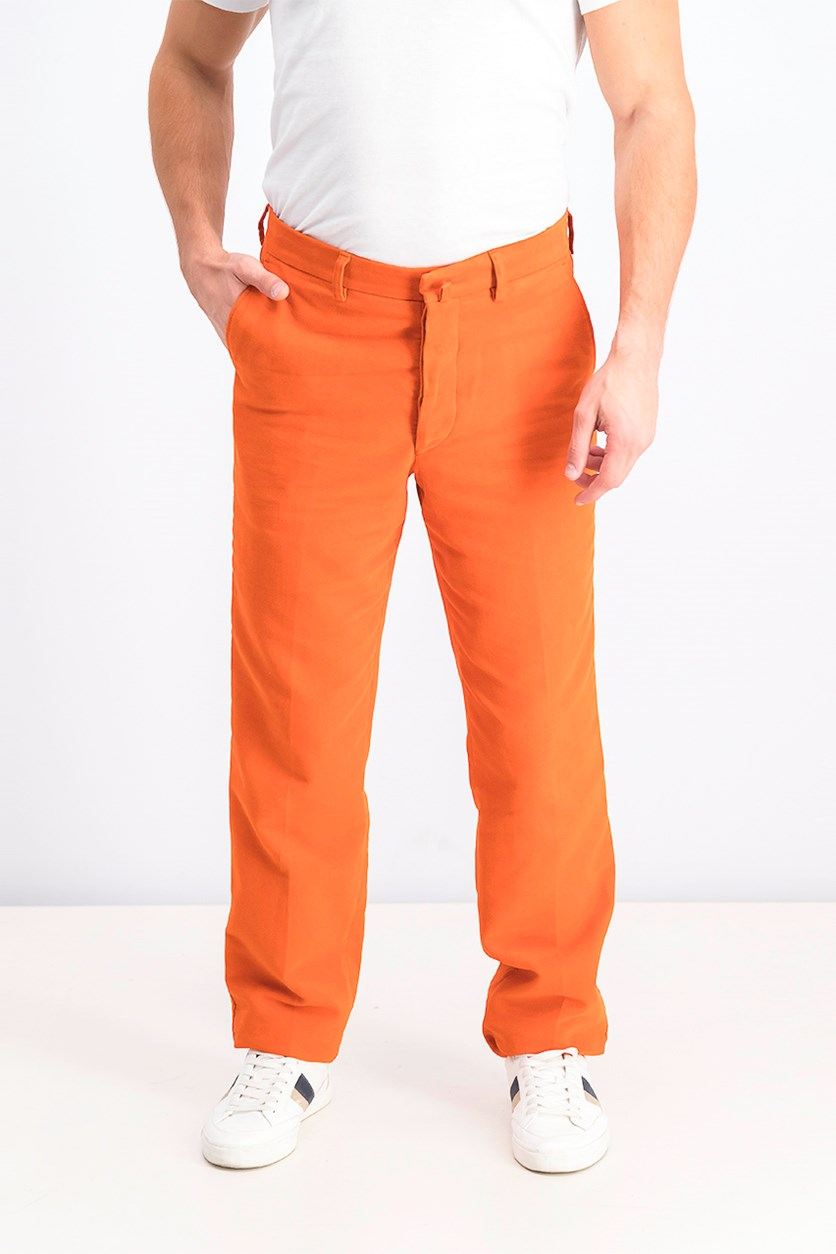 Men's Belt Loops Moleskin Chino Pants, Orange