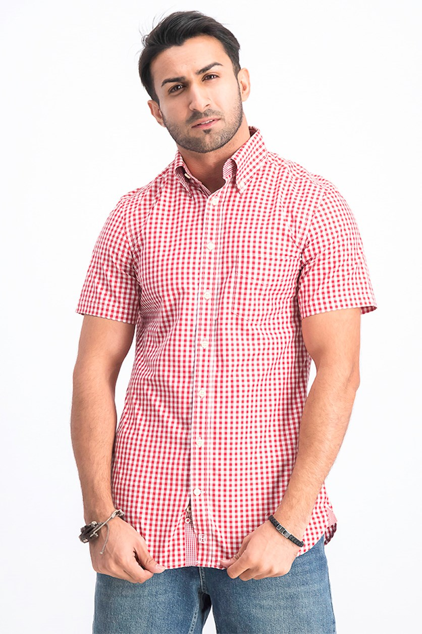 Men's Classic Gingham Shirt, Red Combo