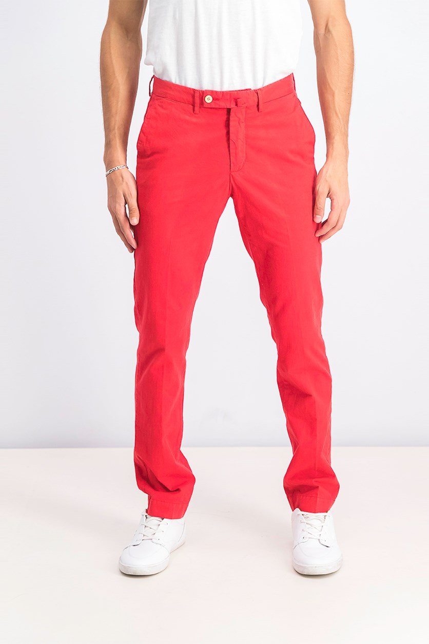Men's Belt Loops Chino Pants, Coral