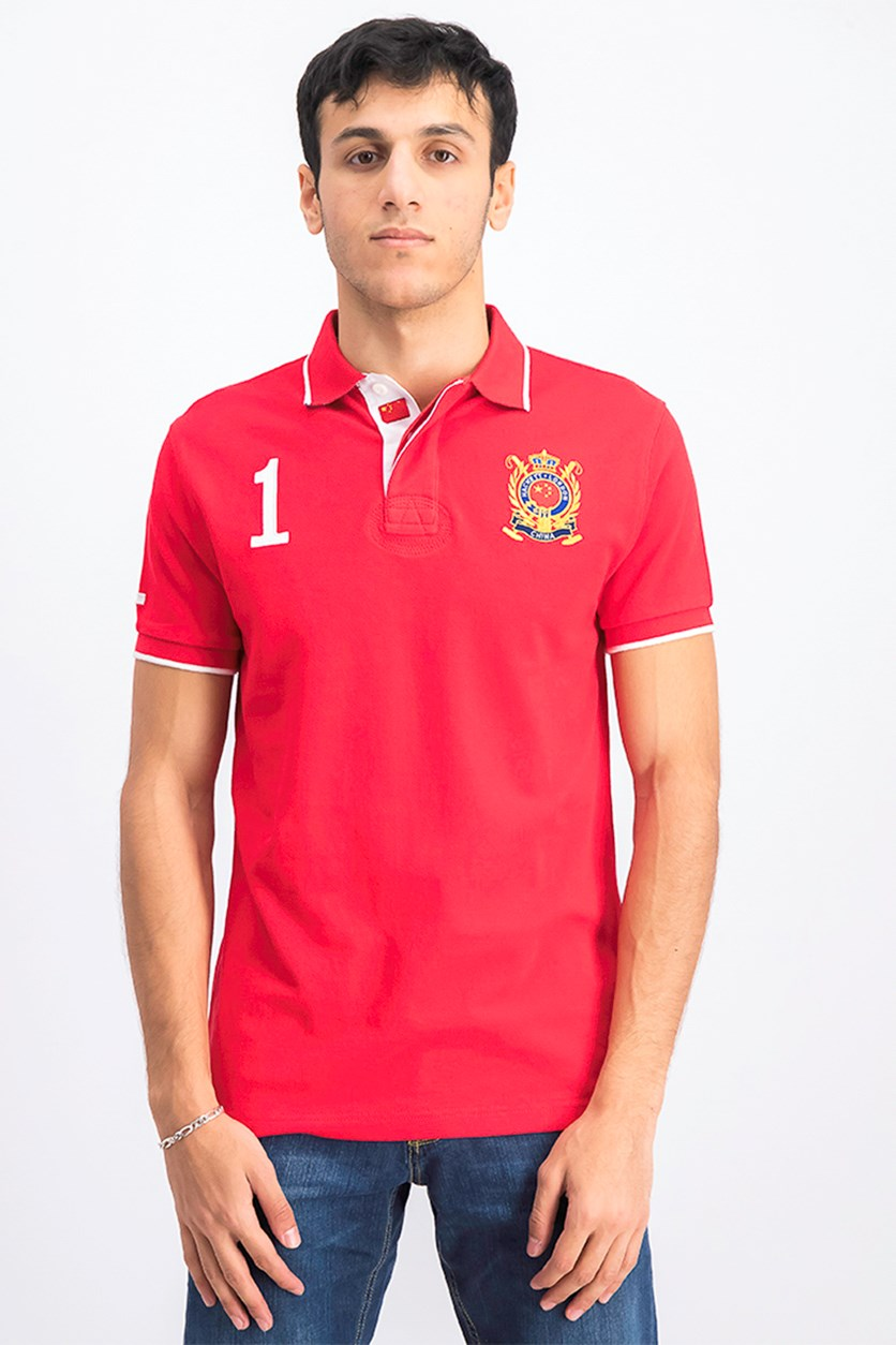 Men's Pointed Collar Short Sleeve Polo Shirt, Red